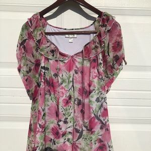 Dress Barn Tops - Ruffle Neckline Blouse With Pink Flowers Size18/20